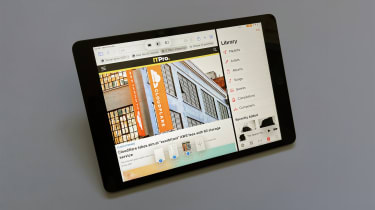 A photograph of the 12.9in 2021 Apple iPad Pro showing some of iOS 15's UI features