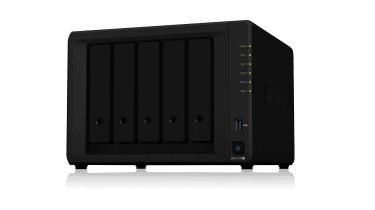 The front of the Synology DS1019+ NAS drive