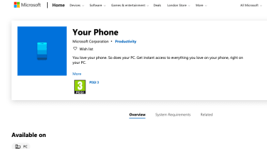 A screenshot of the Your Phone app on Microsoft's online store