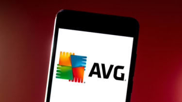 AVG logo displayed on a smartphone