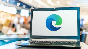 Microsoft Edge browser logo displayed on a laptop
