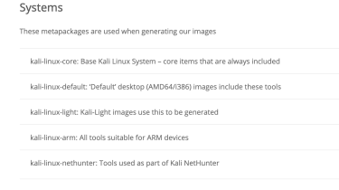 List of Kali Metapackages to add testing tools to a Raspberry Pi