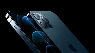 A side render of Apple's iPhone 12 pro smartphone on a black background