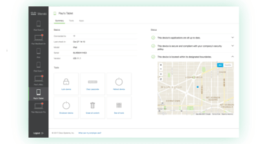 A screenshot of Cisco Meraki's MDM software