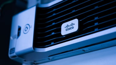 The Cisco logo as fixed onto a device