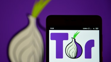 The Tor browser logo displayed on a smartphone