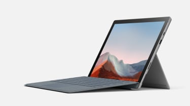 Left-facing Surface Pro 7 Plus in front of a white background