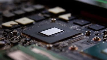 Closeup of computer graphics chip GPU inside a laptop