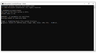 Windows 10'da Komut İstemi'nde çalıştırılan chkdsk komutunun ekran görüntüsü