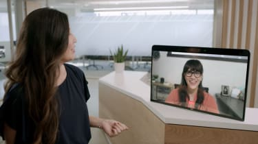 Zoom's virtual receptionist greeting a visitor