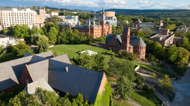 Overlook of Cornell University Campus in Ithaca, NY, from Uris Library