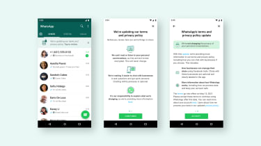 WhatsApp's new banners showing updates to privacy settings