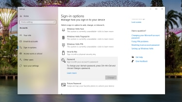 The authentication or user accounts settings in Windows 10