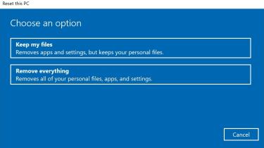 Reset page on Windows