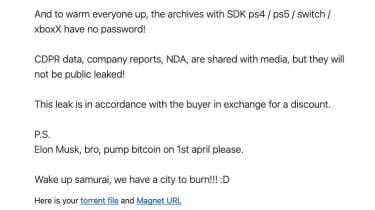 Note from CD Projekt hackers
