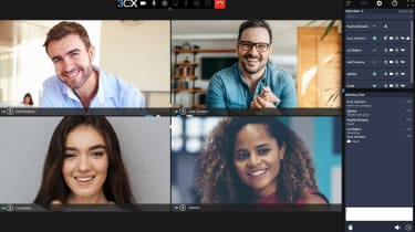 Four people on a web meeting using 3CX