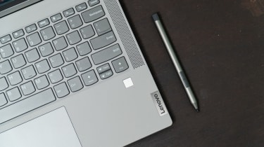 A Lenovo laptop's keyboard and stylus pen