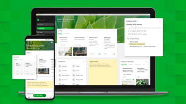 The Evernote app on a laptop screen and phone screen