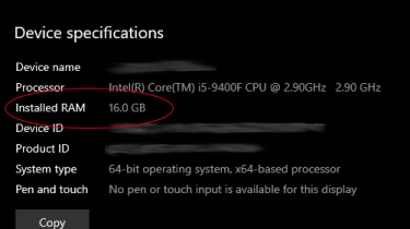 Windows 10 system page showing total RAM
