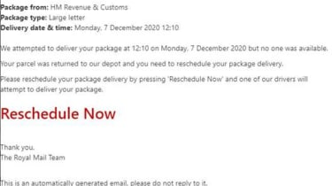 Example of Royal Mail Phishing material