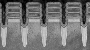 2 nm technology as seen using transmission electron microscopy. 2 nm is smaller than the width of a single strand of human DNA. Courtesy of IBM.