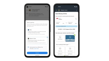 An image of Google Pay's new international payment feature on a mobile phone