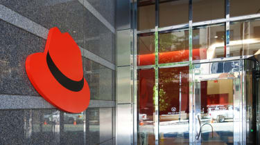 Red Hat logo on the outside of an office building