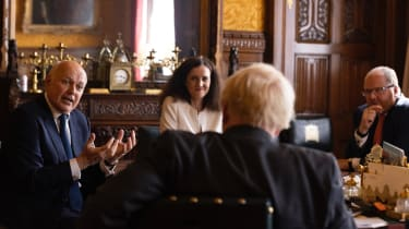Senior MPs Iain Duncan Smith, Theresa Villiers and George Freeman discussing their report with Boris Johnson