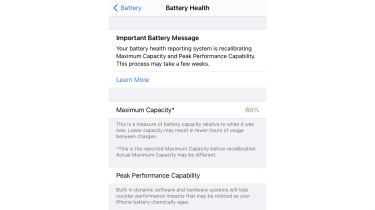 how to turn off battery throttling in iPhone, screenshot