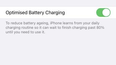 Optimised battery charging in iPhone, screenshot