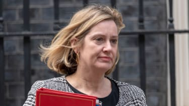 Amber Rudd, Home Secretary between 2016 and 2018, pictured walking outside No. 10