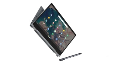The Lenovo IdeaPad Flex 5 Chromebook in tablet mode with an active stylus