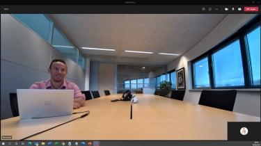 A screenshot of a meeting room as seen through the Trust Iris