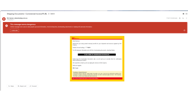 A screenshot of a malicious email to represent a phishing attack