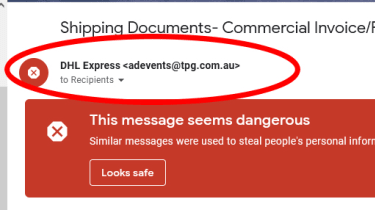A screenshot of a malicious email showing a fake email address