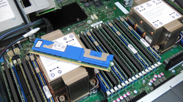 A closeup of the interior of the Broadberry CyberServe SP2 208-8I G3 showing an Intel Optane PMEM module