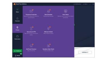 A screenshot of Avast Antivirus Free showing locked privacy tools