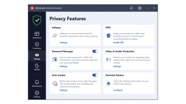 A screenshot of Bitdefender Internet Security's privacy dashboard