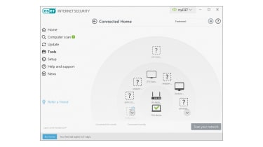 A screenshot of Eset Internet Security's connected home management panel
