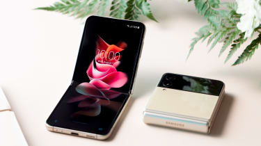 The Galaxy Z Flip, folded and unfolded