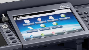 A closeup of the Kyocera Ecosys M6235cidn's control panel