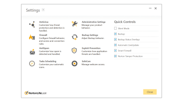 A screenshot of Norton 360 Standard's settings page