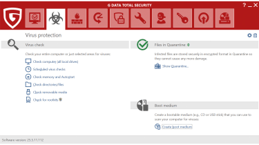A screenshot of G Data Total Security's virus protection dashboard