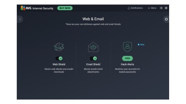 A screenshot of AVG Internet Security's web and email security dashboard