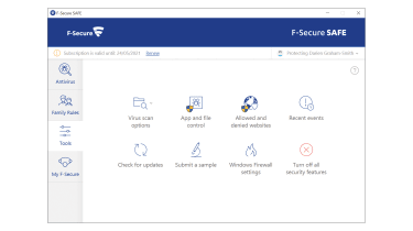 A screenshot of the F-Secure Safe tools dashboard
