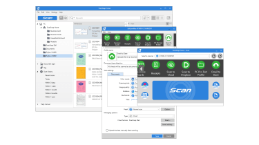 A screenshot of the Fujitsu ScanSnap iX1600's software