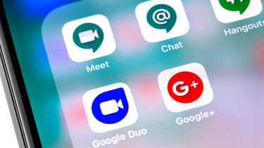 Phone showing the Google chat app and other Google apps