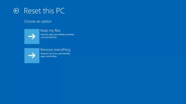 A screenshot of the Windows 10 reset PC screen
