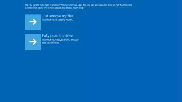 A screenshot of the Windows 10 PC reset process