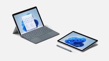 A photograph of two Microsoft Surface Go 3 units showing laptop and tablet modes